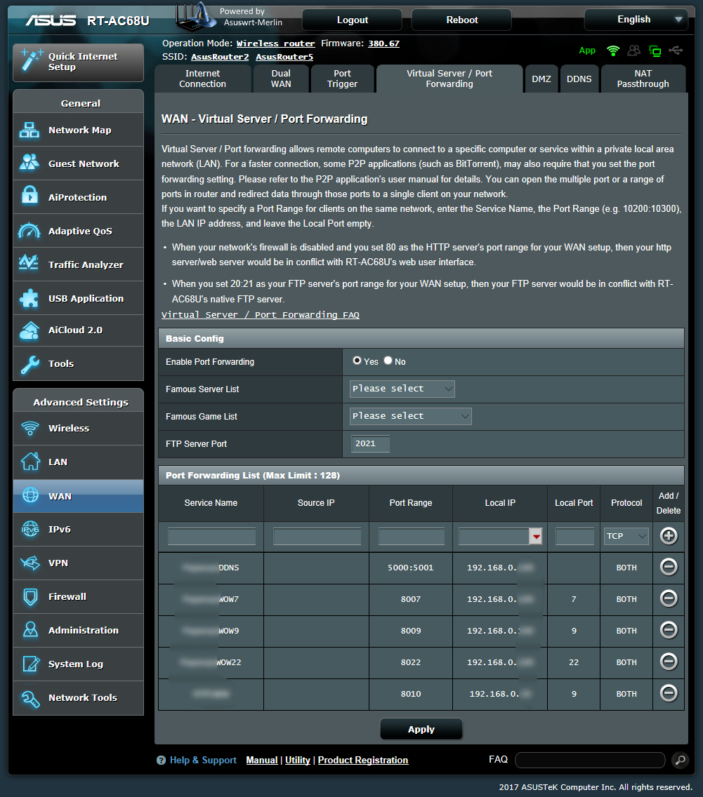 Setup Wake on Wan with the Asus RT-AC68U router and the
